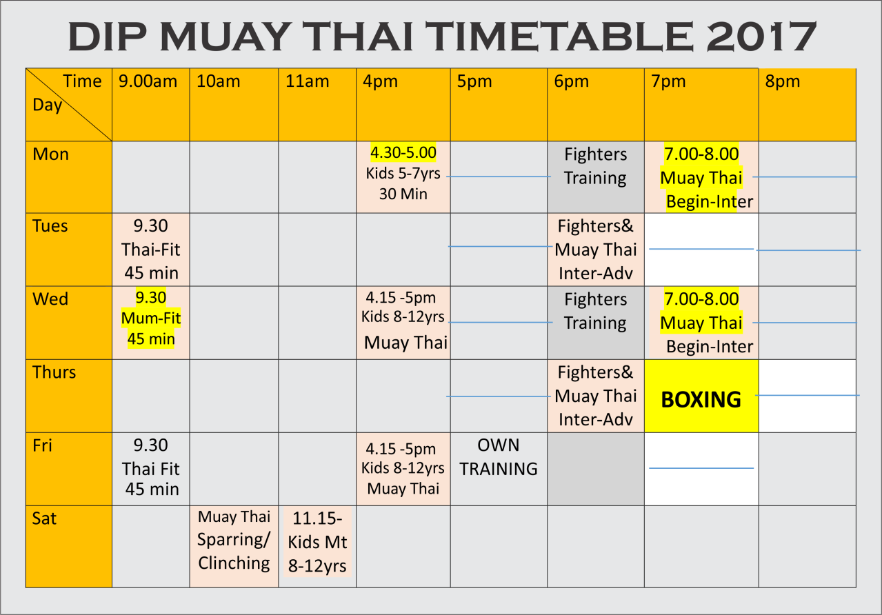 Dip Muaythai Time table 2017
