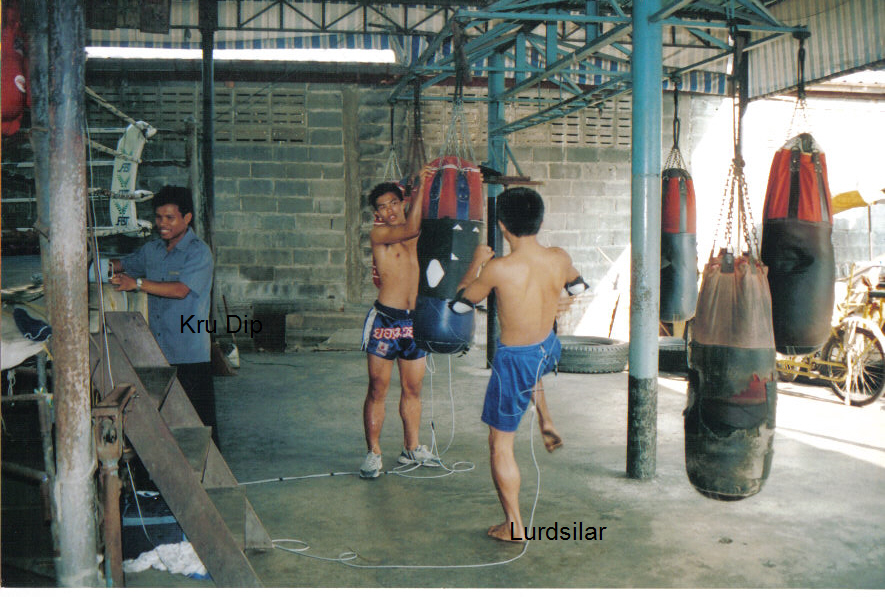Kru Dip's  Test fighters at  Jockey Gym in Thailand 2002